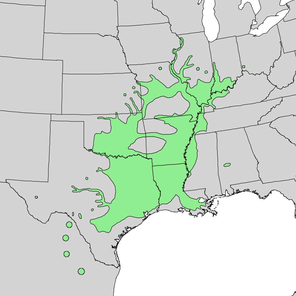 Native range of the pecan tree