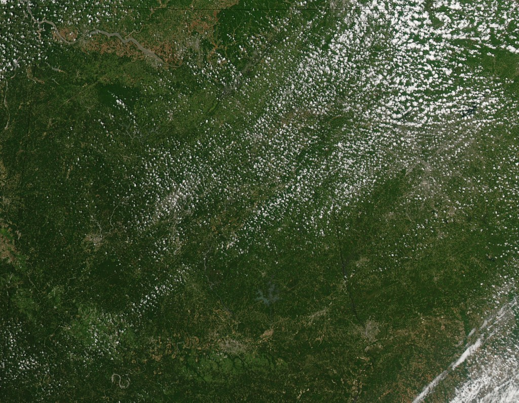 The tornado of April 27, 2011 hit Smithville, Mississippi, where it killed at least 14 people, and moved northeast nearly 3 miles toward the Alabama border. This NASA MODIS image shows the path of exposed ground left in the tornado's wake. The trail left by the EF5 tornado in Mississippi is much shorter than a similar trail that cuts across northwestern Alabama. Credit: NASA MODIS Rapid Response Team, Jeff Schmaltz