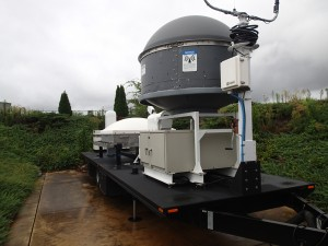 Trailer of the Mobile Integrated Profiling System (MIPS).  The trailer is towed out to a site by an old ambulance.  The equipment allows the researchers to profile multiple aspects of a storm and tornado at very high resolution.