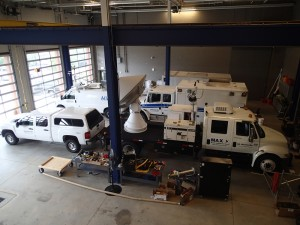 Fleet of tornado tracking vehicles.