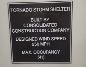 Sign outside the tornado shelter or break room depending on the day.