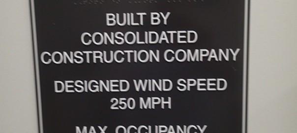 Sign outside the tornado shelter or break room depending on the day.